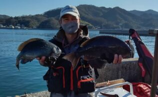 中島沖にて良型のグレ